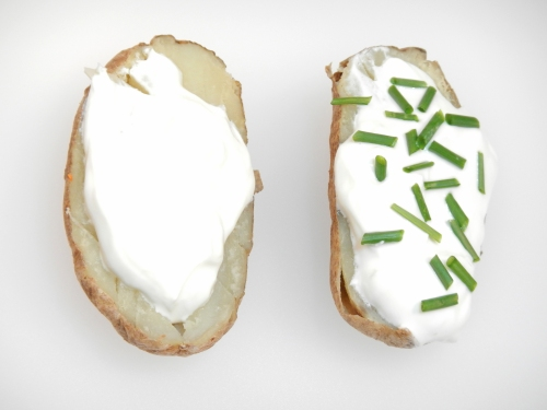 baked potato with and without chives
