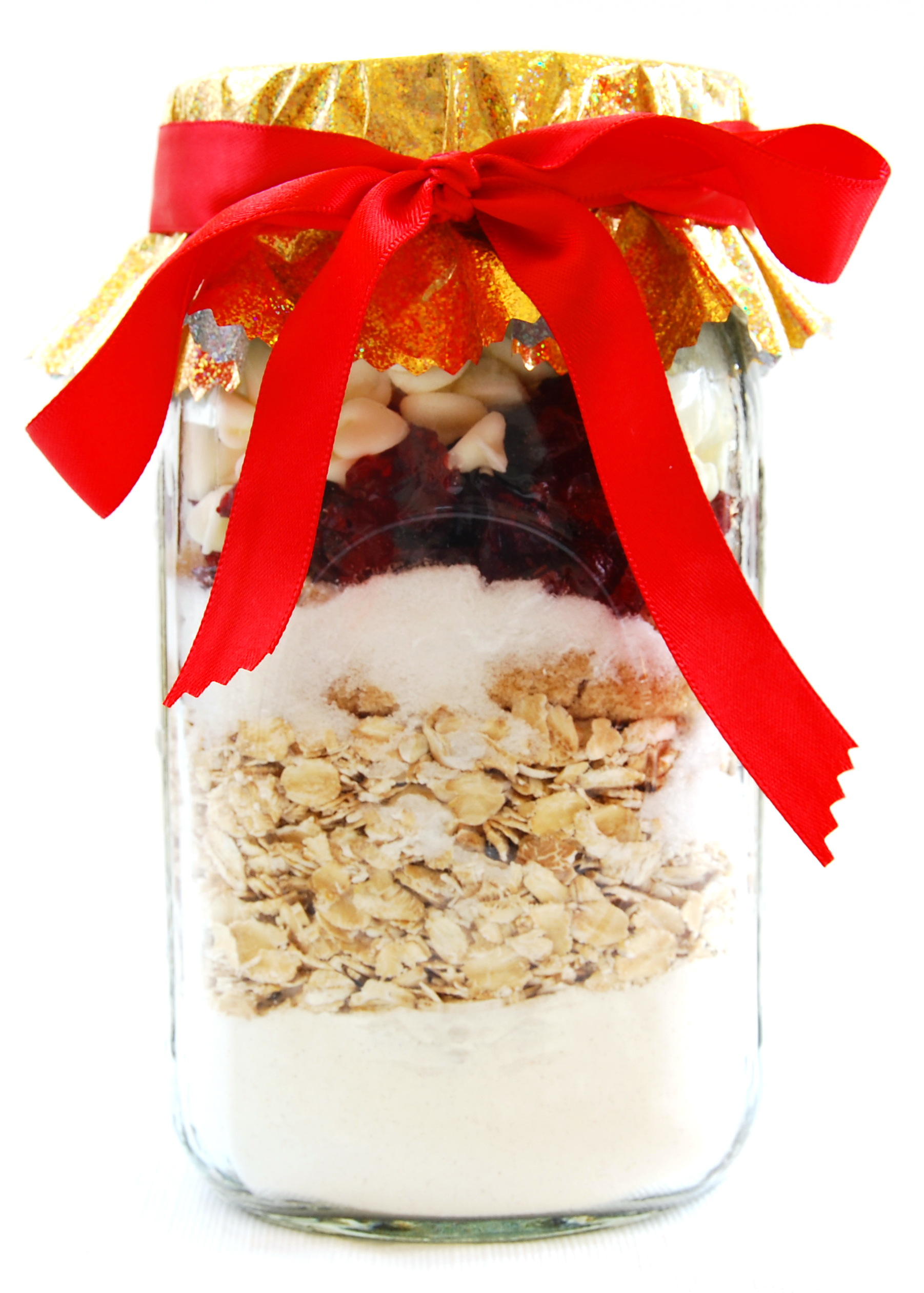 Cranberry-Oatmeal Cookie Mix. Notice how the covering is placed on top ...