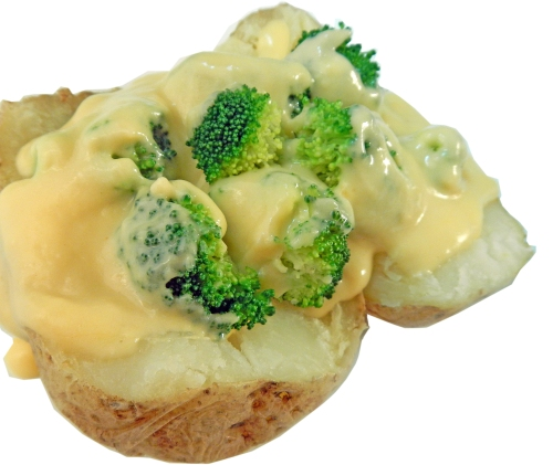 "The only fat in ""Cheesy Broccoli Baked Potatoes"" is from the cheese. No additional fat is used in making the cheese sauce."