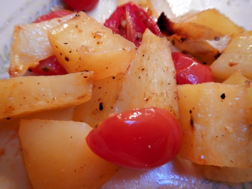 """Roasted Potatoes, Tomatoes & Onions"" are so easy to prepare and taste delicious."
