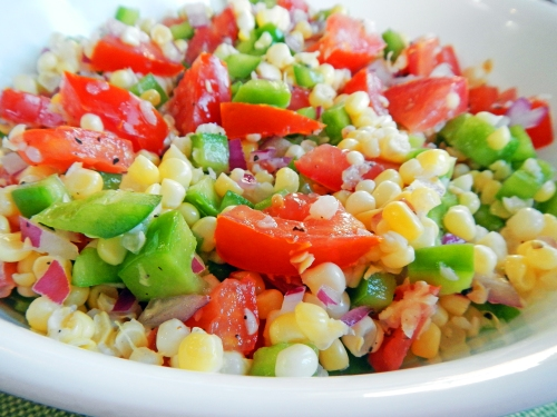 corn, tomato, green pepper salsa