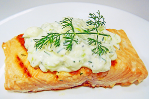 Cucumber Dill Sauce on salmon