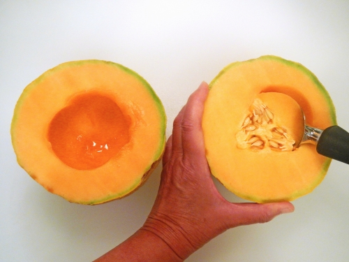 remove seeds from cantaloupe with an ice cream scoop