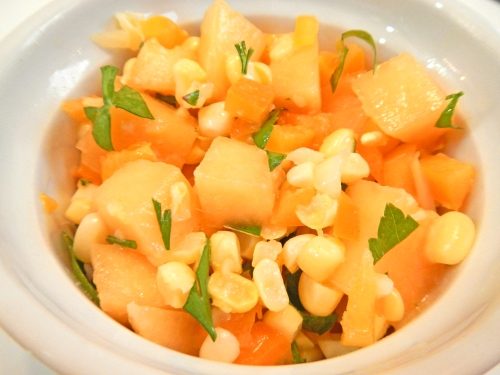 cantaloupe, habanero pepper, sweet corn and sweet onion salsa